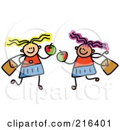 Royalty Free RF Clipart Illustration Of A Childs Sketch Of Two Girls Holding Apples by Prawny