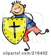 Royalty Free RF Clipart Illustration Of A Childs Sketch Of A Boy Holding A Shield Of Faith