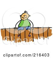 Royalty Free RF Clipart Illustration Of A Childs Sketch Of A Boy Sitting On A Fence