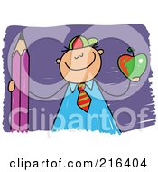 Royalty Free RF Clipart Illustration Of A Childs Sketch Of A School Boy Holding An Apple And Pencil by Prawny