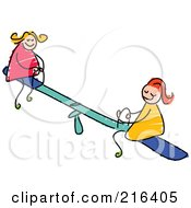 Royalty Free RF Clipart Illustration Of A Childs Sketch Of Girls Playing On A Teeter Totter
