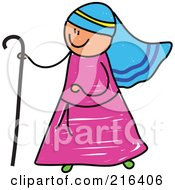 Royalty Free RF Clipart Illustration Of A Childs Sketch Of A Shepherd Boy