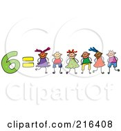 Royalty Free RF Clipart Illustration Of A Childs Sketch Of 6 Equals Six Kids
