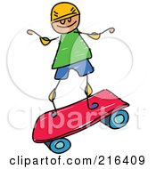 Royalty Free RF Clipart Illustration Of A Childs Sketch Of A Boy Riding A Pink Skateboard