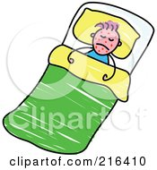 Royalty Free RF Clipart Illustration Of A Childs Sketch Of A Sick Boy With Red Splotches