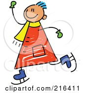 Royalty Free RF Clipart Illustration Of A Childs Sketch Of A Boy Ice Skating