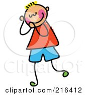 Royalty Free RF Clipart Illustration Of A Childs Sketch Of A Boy Blushing by Prawny