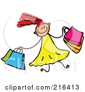 Royalty Free RF Clipart Illustration Of A Childs Sketch Of A Girl Shopping by Prawny