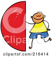 Royalty Free RF Clipart Illustration Of A Childs Sketch Of A Boy With A Semi Circle by Prawny