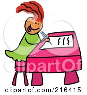 Royalty Free RF Clipart Illustration Of A Childs Sketch Of A Girl Writing by Prawny