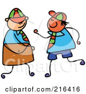Royalty Free RF Clipart Illustration Of A Childs Sketch Of Two School Boys by Prawny