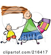 Royalty Free RF Clipart Illustration Of A Childs Sketch Of A Mom Shopping With Her Son by Prawny