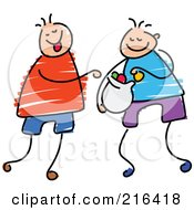 Royalty Free RF Clipart Illustration Of A Childs Sketch Of Boys Sharing Candy
