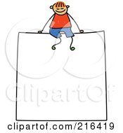 Royalty Free RF Clipart Illustration Of A Childs Sketch Of A Boy Sitting On A Sign