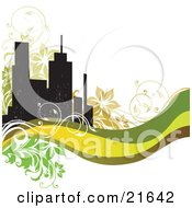 Clipart Illustration Of A Website Background With Silhouetted City Buildings Flowers Vines And Green Waves Over White