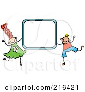 Royalty Free RF Clipart Illustration Of A Childs Sketch Of A Boy And Girl Holding A Blue Sign Frame