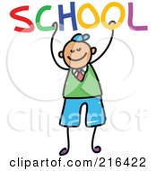 Royalty Free RF Clipart Illustration Of A Childs Sketch Of A School Boy Holding SCHOOL by Prawny