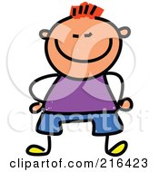 Royalty Free RF Clipart Illustration Of A Childs Sketch Of A Short Boy