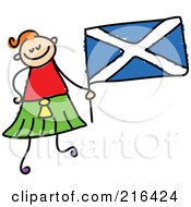 Childs Sketch Of A Girl Holding A Scottish Flag