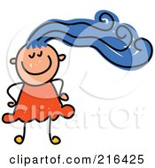 Royalty Free RF Clipart Illustration Of A Childs Sketch Of A Girl With Blue Hair