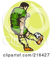 Royalty Free RF Clipart Illustration Of A Retro Soccer Player Over A Yellow Oval