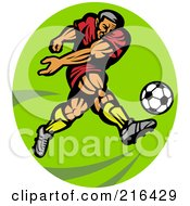 Royalty Free RF Clipart Illustration Of A Retro Soccer Player Over A Lime Green Oval