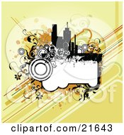 Clipart Illustration Of A Blank Frame With Circles And Vines Under City Buildings On An Orange Background