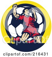 Royalty Free RF Clipart Illustration Of A Retro Soccer Player Celebrating Victory In Front Of A Soccer Ball