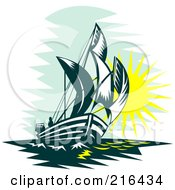 Royalty Free RF Clipart Illustration Of A Retro Sailboat At Sea by patrimonio