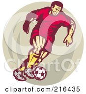 Royalty Free RF Clipart Illustration Of A Retro Soccer Player Over A Tan Oval