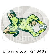 Royalty Free RF Clipart Illustration Of A Soccer Goalie Catching The Ball