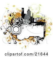 Clipart Illustration Of A Grunge Frame With Floral Vines Underneath A Silhouetted City