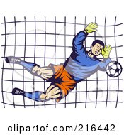 Royalty Free RF Clipart Illustration Of A Retro Soccer Goalie Blocking A Ball