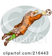 Royalty Free RF Clipart Illustration Of A Retro Soccer Goalie Leaping Towards A Ball