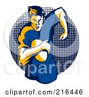 Royalty Free RF Clipart Illustration Of A Rugby Football Player 33