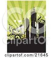 Clipart Illustration Of A Retro Revival Background With City Skyscrapers With Vines Over Black And Green