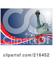 Royalty Free RF Clipart Illustration Of A Statue Of Liberty On Blue Over A Bow On Red White And Blue Waves And Stars by leonid