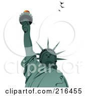 Royalty Free RF Clipart Illustration Of A Green Statue Of Liberty With Birds by leonid