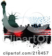 Royalty Free RF Clipart Illustration Of A Green Statue Of Liberty With Stars Over A Grungy American Bar by leonid