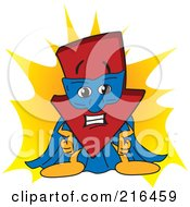 Royalty Free RF Clipart Illustration Of A Red Down Arrow Character Mascot Super Hero