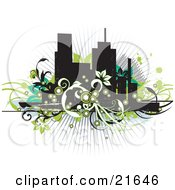 Clipart Illustration Of Flowering Green Black And White Vines In Front Of City Skyscrapers On A White Background