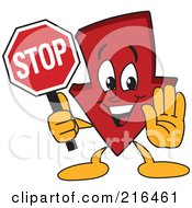 Royalty Free RF Clipart Illustration Of A Red Down Arrow Character Mascot Holding A Stop Sign