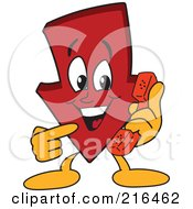 Royalty Free RF Clipart Illustration Of A Red Down Arrow Character Mascot Using A Telephone