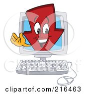 Royalty Free RF Clipart Illustration Of A Red Down Arrow Character Mascot In A Computer