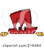 Royalty Free RF Clipart Illustration Of A Red Down Arrow Character Mascot Looking Over A Blank Sign