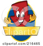 Royalty Free RF Clipart Illustration Of A Red Down Arrow Character Logo Mascot On A Blue Oval With A Gold Banner