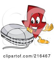 Royalty Free RF Clipart Illustration Of A Red Down Arrow Character Mascot By A Computer Mouse by Toons4Biz