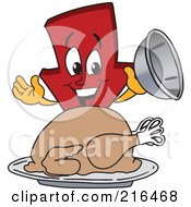 Royalty Free RF Clipart Illustration Of A Red Down Arrow Character Mascot Serving A Thanksgiving Turkey by Toons4Biz
