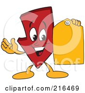 Red Down Arrow Character Mascot Holding A Yellow Tag