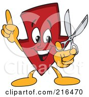 Royalty Free RF Clipart Illustration Of A Red Down Arrow Character Mascot Holding Scissors by Toons4Biz